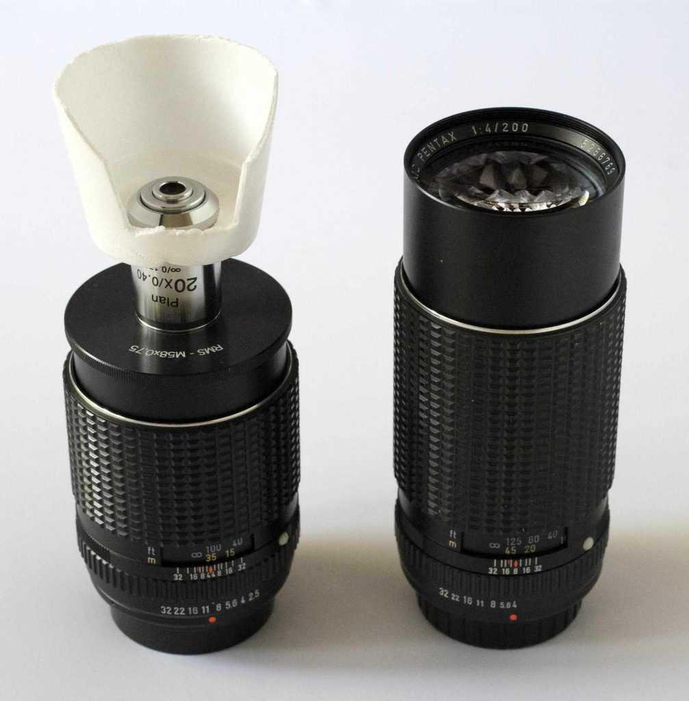 Pentax SMC K 200mm ve SMC K 135mm lensler ile infinity tipi mikroskop lensi