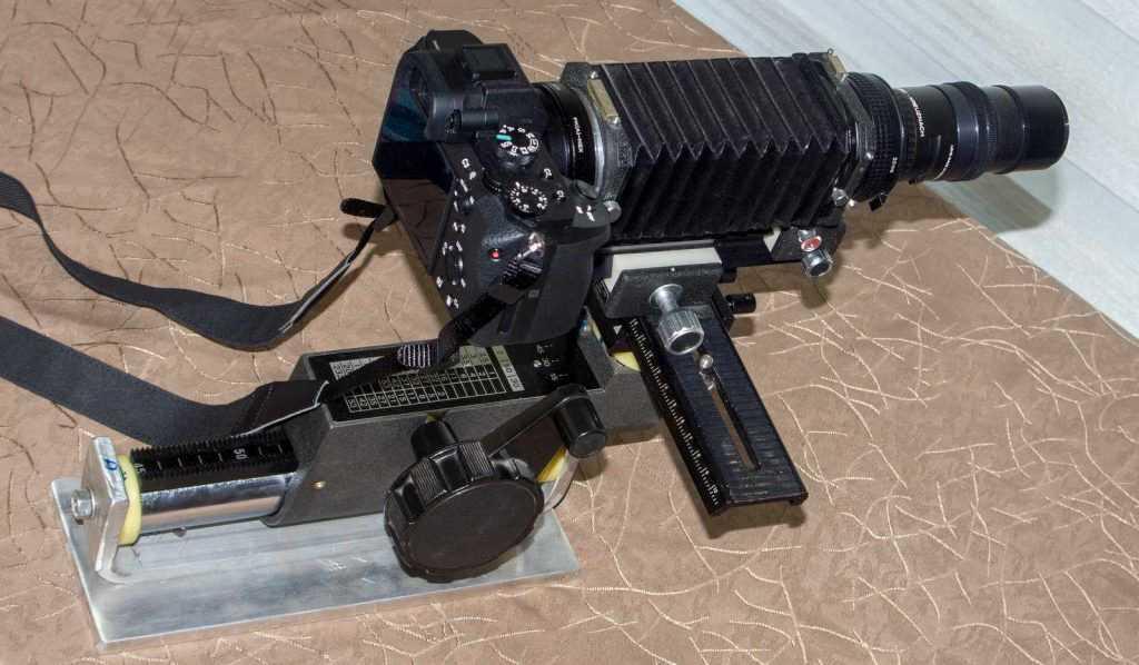 Gövde ve lens sistemi ile birlikte uzun makro ray